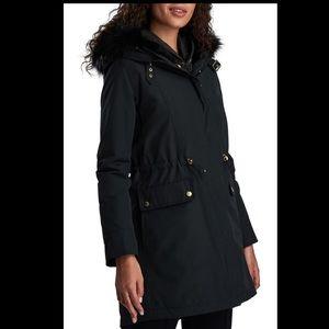 Barbour Clutch Faux Fur Hooded Fishtail Raincoat